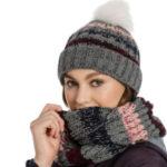 Bonnet tricoté à rayures grises Snood Horseware